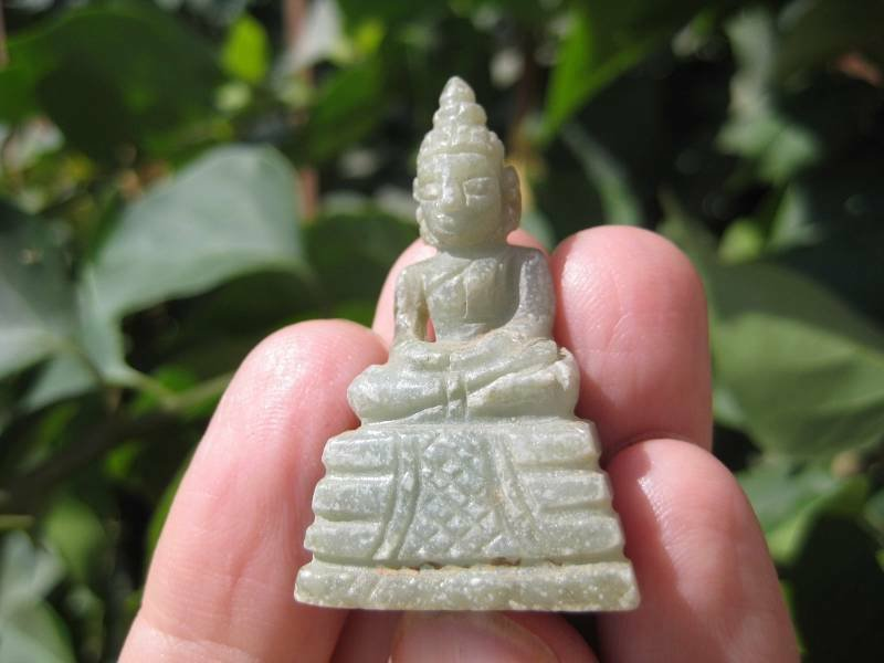 Natural Jade Shakyamuni Buddha stone rock mineral  Carving Art A8
