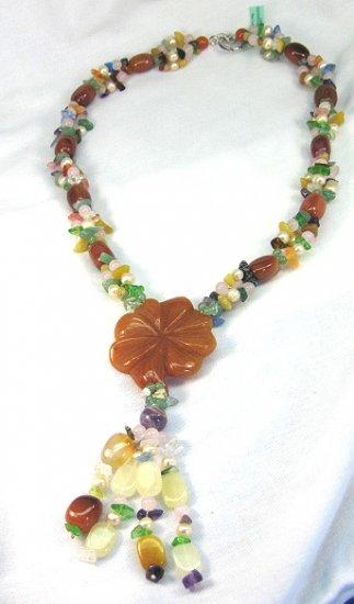 Sterling Jade Amethest Quartz Lariat Necklace Handcrafted