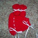 Red Crochet Bonnet and Booties Set