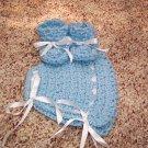 Blue Crochet Bonnet and Booties Set