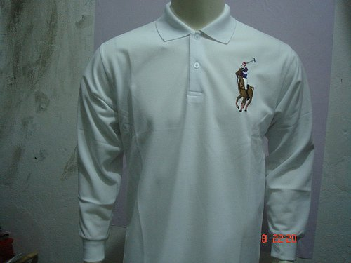 Mens White Long Sleeve Ralph Lauren Polo shirt -T05