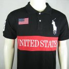 Mens Black Ralph Lauren Polo USA shirt with embroided 3