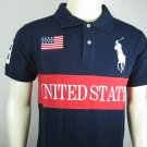 Mens Blue Ralph Lauren Polo USA shirt with embroided 3