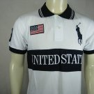 Mens White Ralph Lauren Polo USA shirt with embroided 3