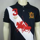 Mens Blue and White Ralph Lauren Polo shirt with embroided 3