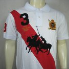 Mens White and Red Ralph Lauren Polo shirt with embroided 3
