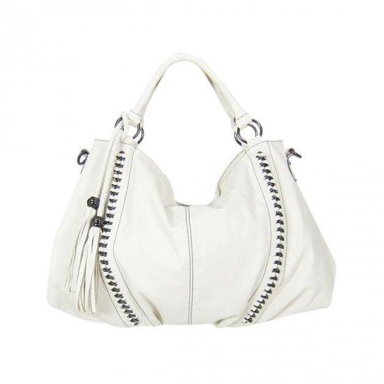 Melie Bianco Tassel Chain hobo bag in White