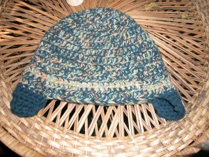 mixed blue toboggan with ear flaps