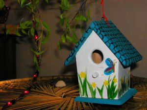 spring themed birdhouse