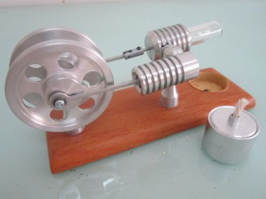 Stirling Heat engines~ Twin Flywheel Hot Air Motor stirling Engine (new) no steam(FREE SHIPPING)