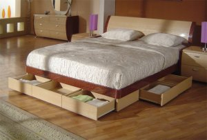 Symphony King Size Modern Platform Bed With Storage Drawers In Cherry Maple Finish