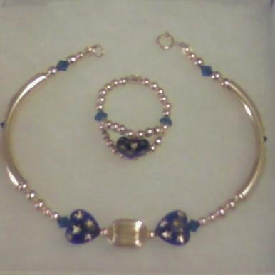 Gold Beaded Emperial Frost Bangle & Ring Set