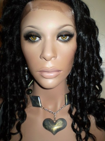 "14"" SYNTHETIC LACE FRONT WIG Spiral Curls #1B BLACK"