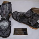 100%Gucci Authentic  Gladiator Ankle Bootie Sandals - Black - Size 9