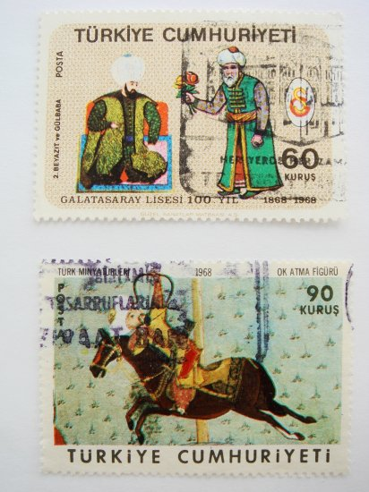 Vintage Turkish Postage Stamps 2 different miniature painting images collectible Stamped