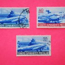 Turkish Postage Stamps 3 airplane airport subject depicted in blue collectible vintage Stamped