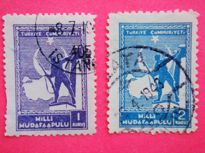 Turkish National Defence Donation Stamps 2 in different color and denominations collectible vintage