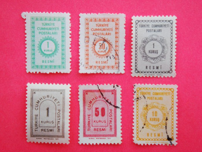Turkish Government Official Stamps 6 in various colors and value collectible vintage