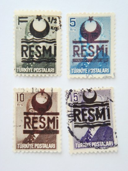 Turkish Government Official Stamps 4 in different colors and value collectible vintage