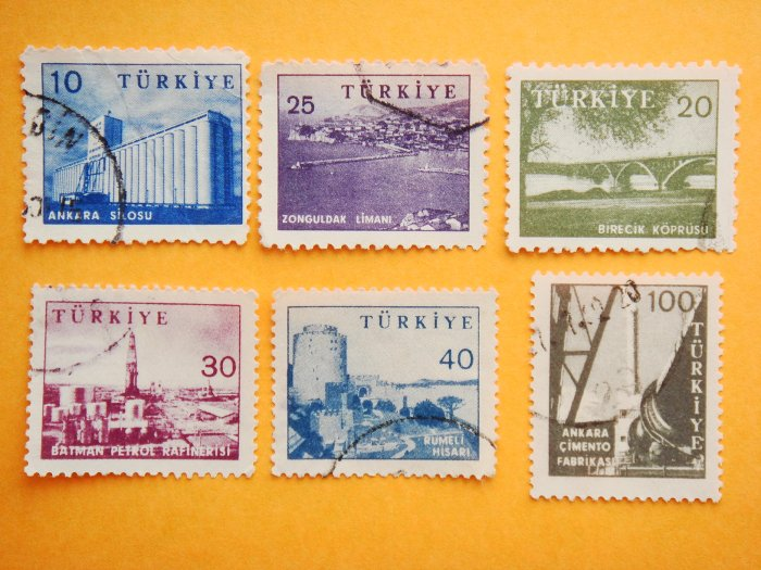 Turkish Postage Stamps 6 locations of significance depicted in various colors collectible vintage