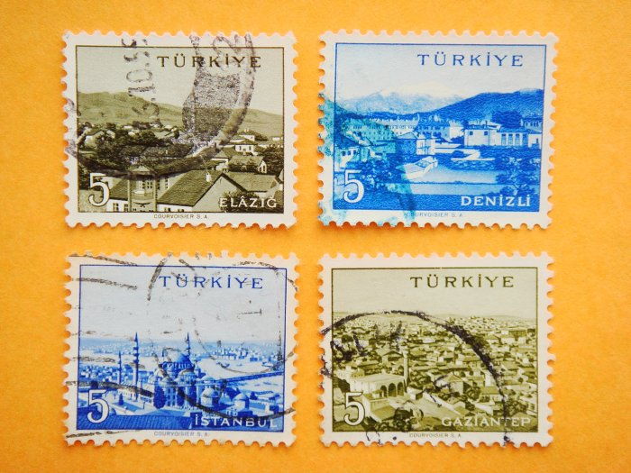 Turkish Postage Stamps 4 Turkish cities from different regions in monochrome collectible vintage