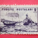 Turkish Postage Stamp with image drawing of USS Missouri on it collectible vintage