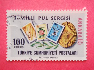 Commemorative Turkish Postage Stamp for the 1st National Stamp Exhibition held in Ankara