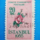 Vintage Collectable Turkish Postage Stamp printed in 1955 out of circulation