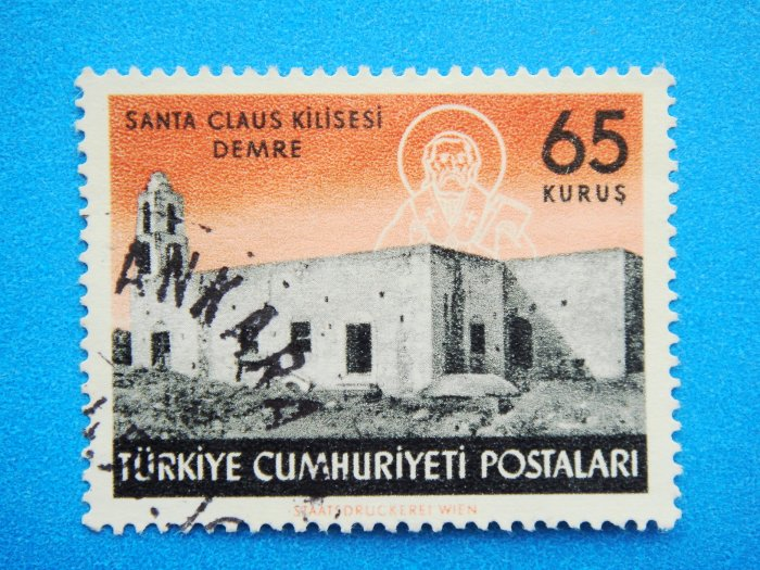 Postage Stamp Vintage Collectable Turkish depicting historic Saint Nicholas Church in Demre