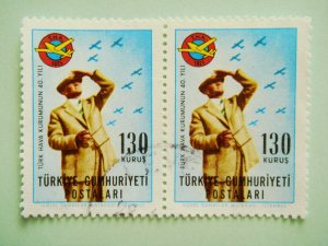 2 Postage Stamps Commemorating 40th Anniversary of foundation of Turkish Aeronautical Association
