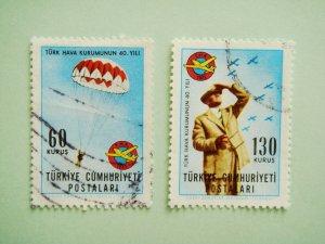 Set of Postage Stamps Commemorating 40th Anniversary Turkish Aeronautical Association foundation
