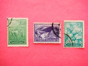 Turkish Postage Stamps 3 different subjects depicted in various colors collectible vintage Stamped