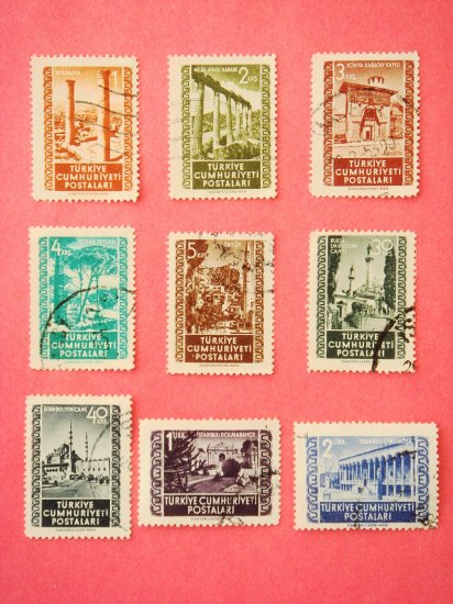 Turkish Postage Stamps 9 scenic historic locations depicted in various colors collectible vintage
