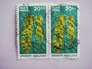 Indian Postage Stamp with Amaltaas Golden Shower Tree Cassia Fistula on it