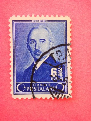 Vintage Collectable Turkish Postage Stamp depicting second President Ismet Inonu out of circulation
