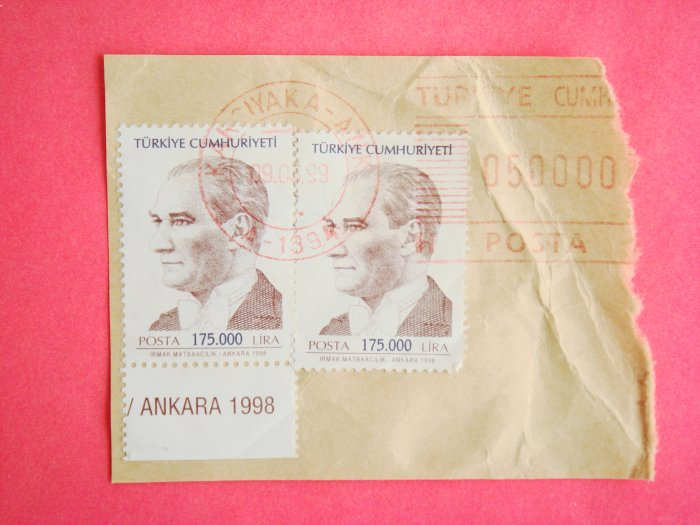 Partial Envelope with Turkish Postage Stamps and Ink Postmark on it