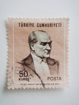 50 kurus Turkish Postage Stamp in pink with Mustafa Kemal Ataturk on it