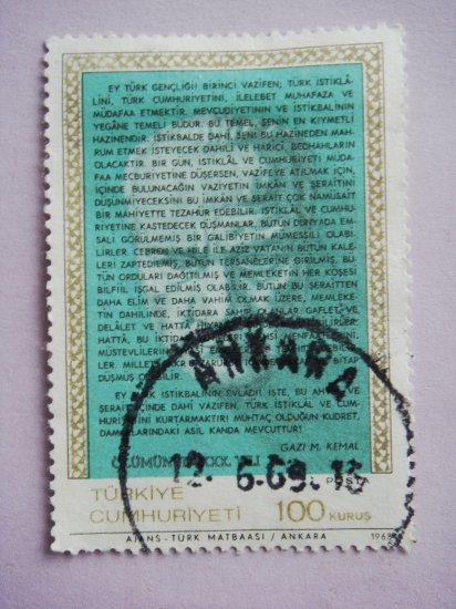 100 kurus Turkish Postage Stamp in green with Mustafa Kemal Ataturk's address to youth