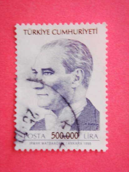 Turkish Postage Stamp depicting first Turkish President Mustafa Kemal Ataturk navy