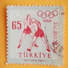 Turkish Postage Stamp honoring the 7 medals won by Turkish wrestlers in 1956 Melbourne Olympics