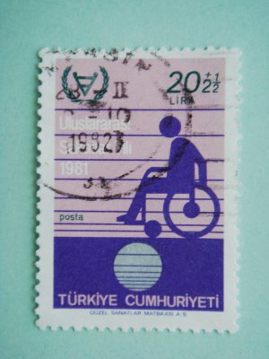 Turkish Postage Stamp printed in honor of 1981 International Year Of Disabled Persons UN