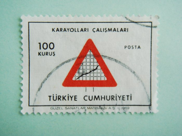 Turkish Postage Stamp symbolizing developments in highways and road pavement