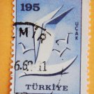Vintage Turkish Postage Stamp bird image in blue collectible Stamped