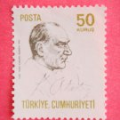 50 kurus Turkish Postage Stamp in white with Mustafa Kemal Ataturk on it