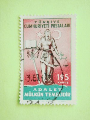 Turkish Postage Stamp about Turkish Justice System principle