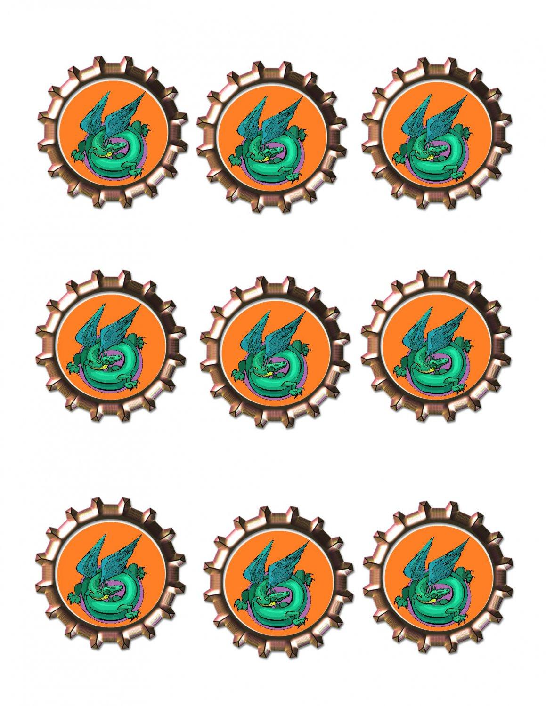 Dragon Bottlecap2 -Download-ClipArt-ArtClip-Bottle Cap-Digital