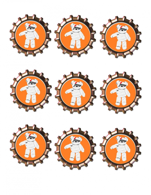 Mummy Bear Bottlecap -Download-ClipArt-ArtClip-Bottle Cap-Digital