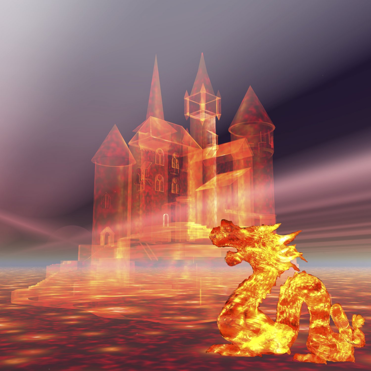 Castle in the Sky and Fire Dragon-Digital Clipart