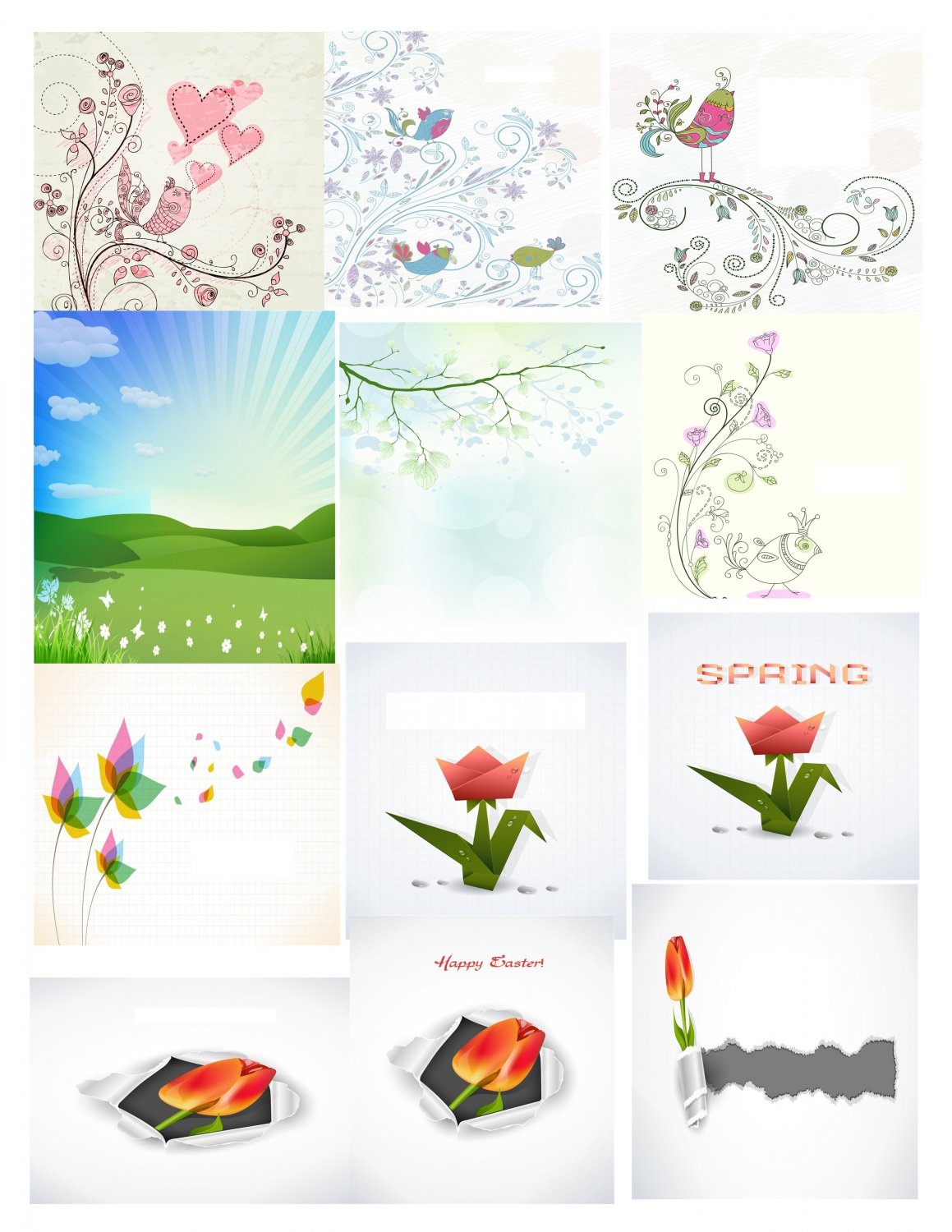 Spring Set Background 4-T-Shirt-Digital Clipart-Website-Flower-Gift Tag