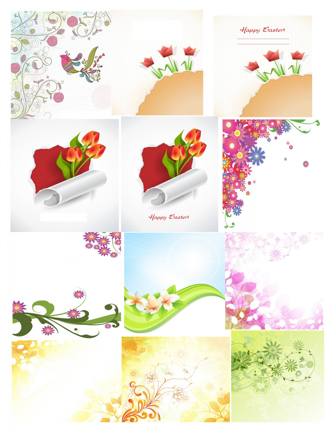 Spring Set Background 3-T-Shirt-Digital Clipart-Website-Flower-Gift Tag